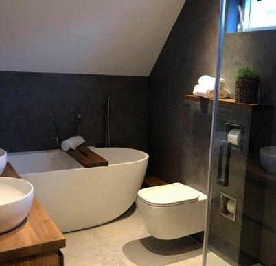 Afwerking badkamer beton look